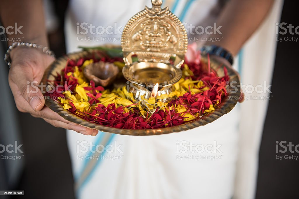 Woman with Ceremonial Plate stock photo