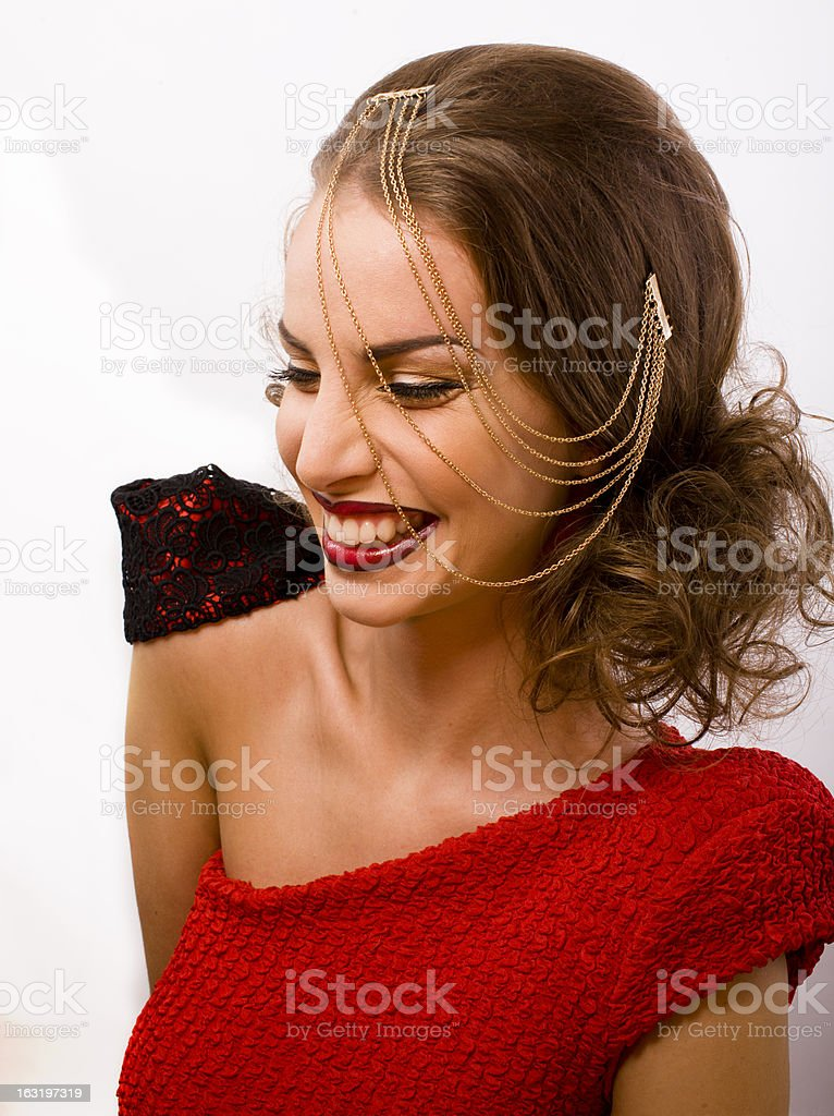 woman with chain and make like gussar role isolated royalty-free stock photo