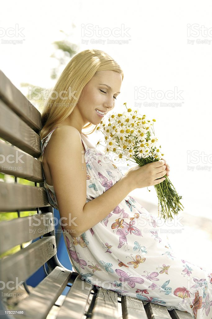 Woman with chamomile royalty-free stock photo