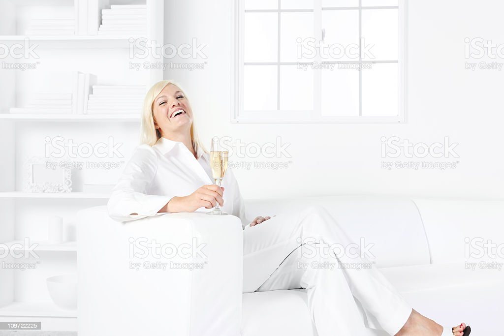 Woman with champagne flute royalty-free stock photo