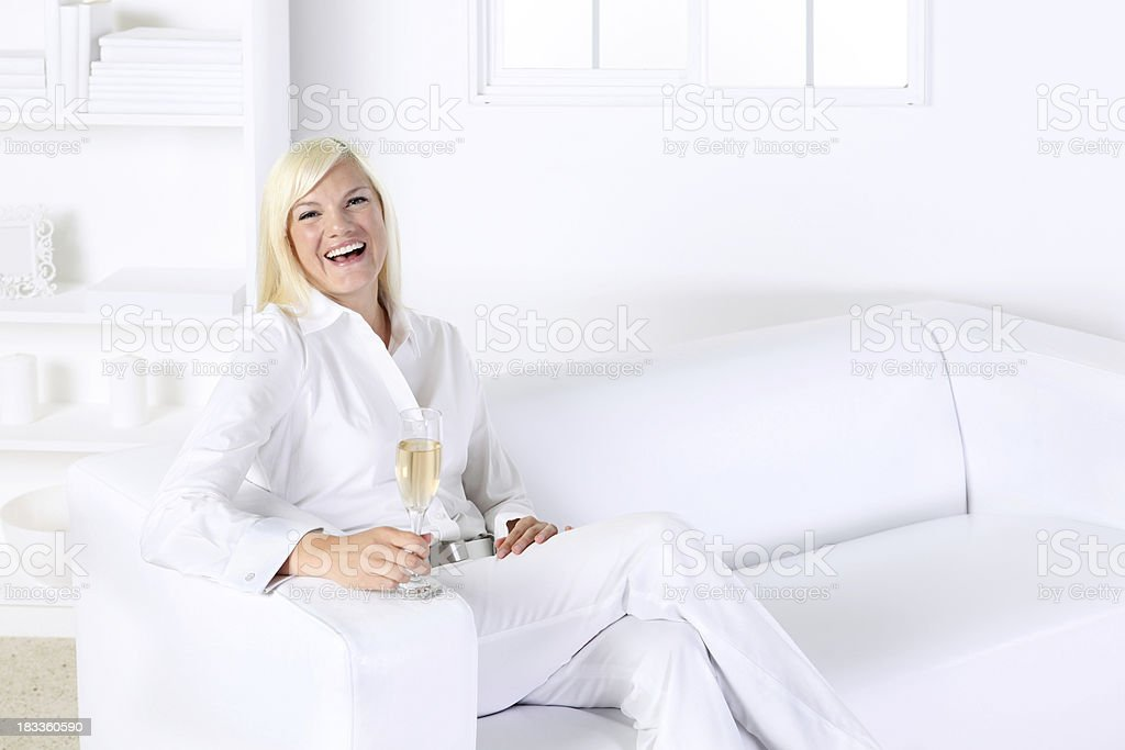 Woman with champagne royalty-free stock photo