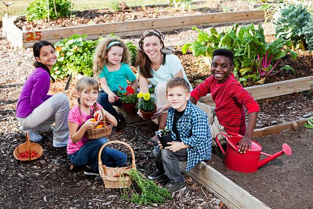 woman with children in community garden stock photo