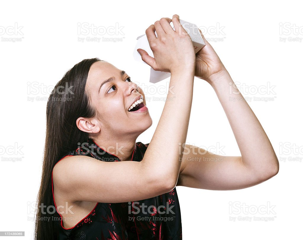 Woman with Chinese Takeout royalty-free stock photo
