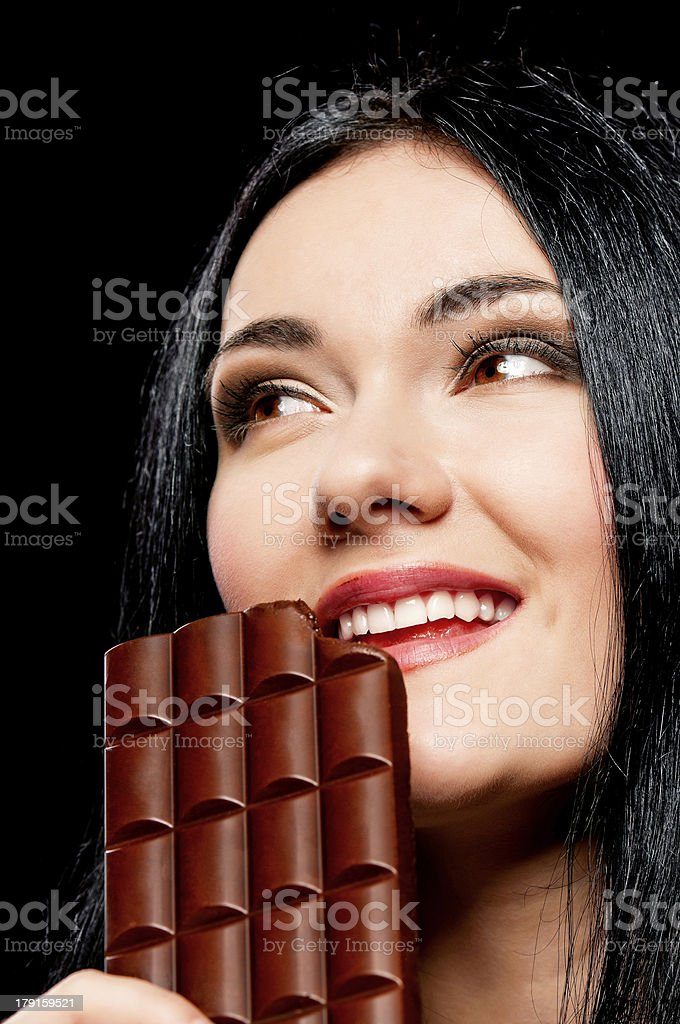 Woman with chocolate royalty-free stock photo