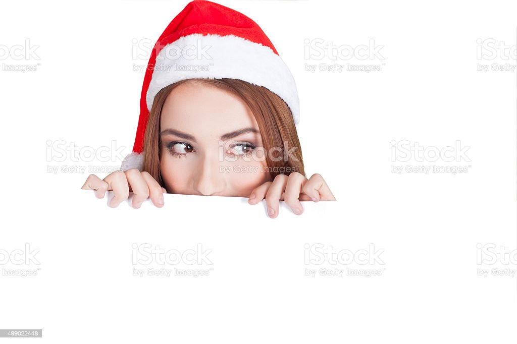 Woman with Christmas hat stock photo