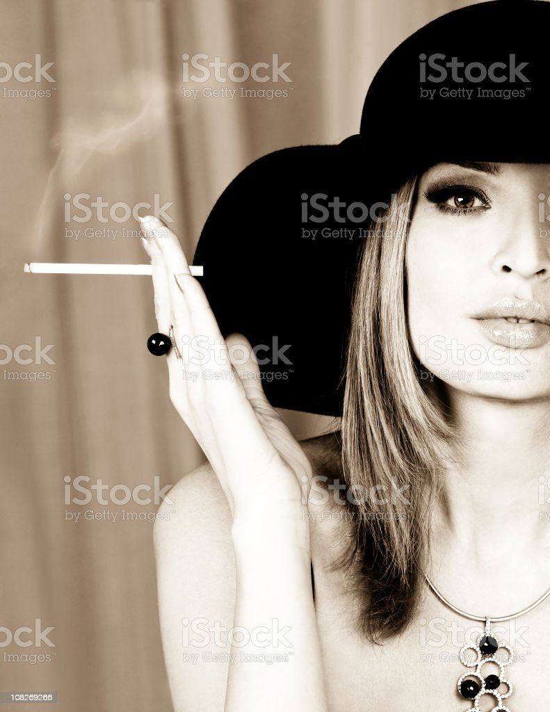 Woman with cigarette royalty-free stock photo