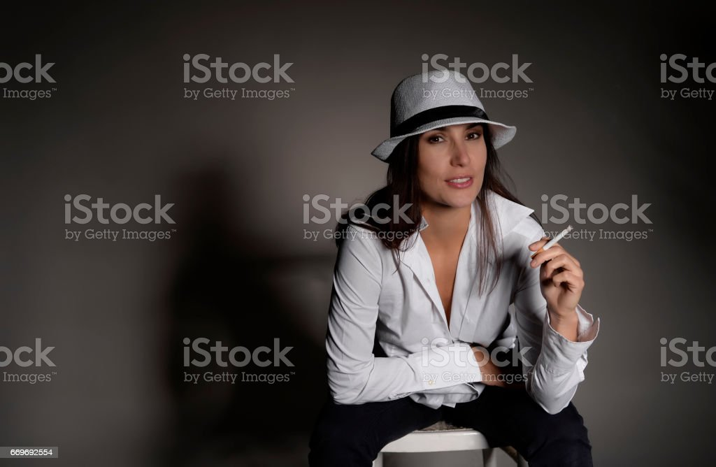 woman with cigarette stock photo