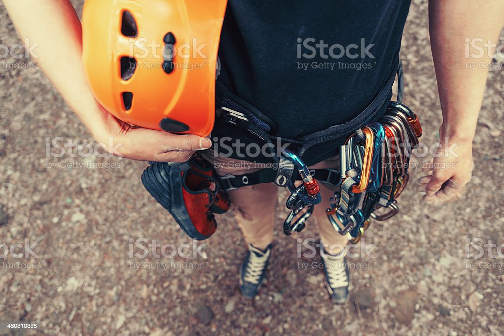 Woman with climbing equipment outdoor stock photo