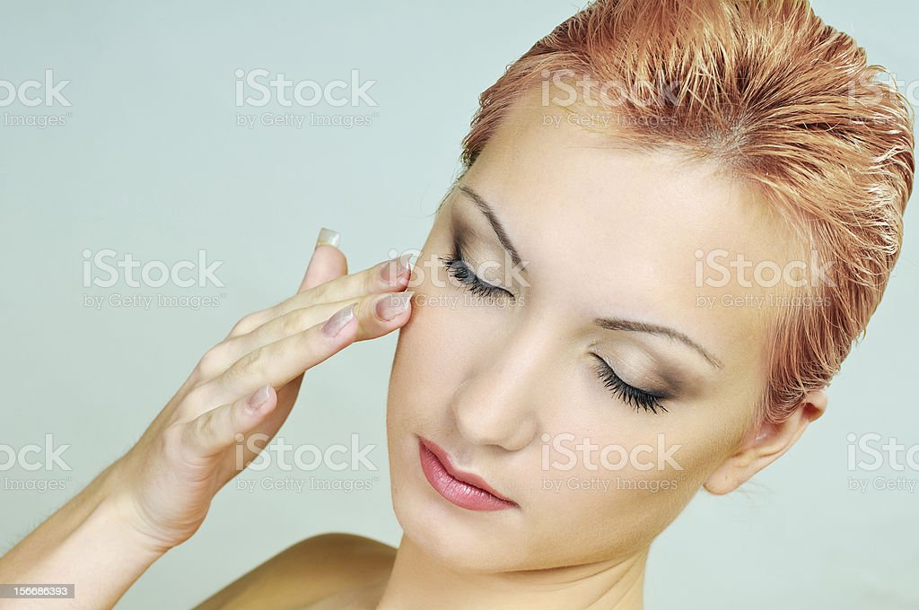 woman with closed eyes royalty-free stock photo