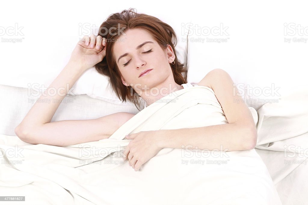 woman with closed eyes sleeps royalty-free stock photo
