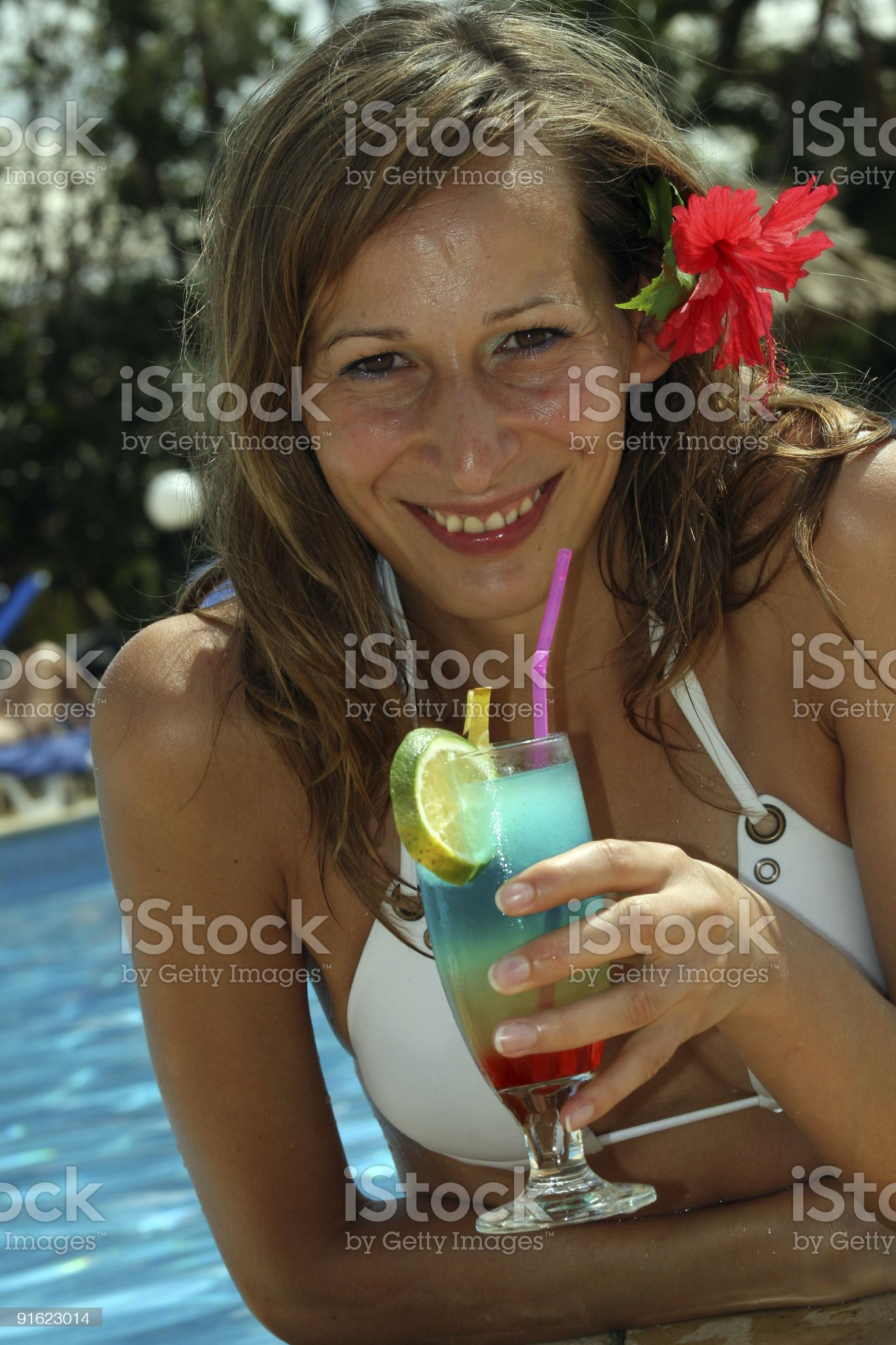 Woman with cocktail royalty-free stock photo