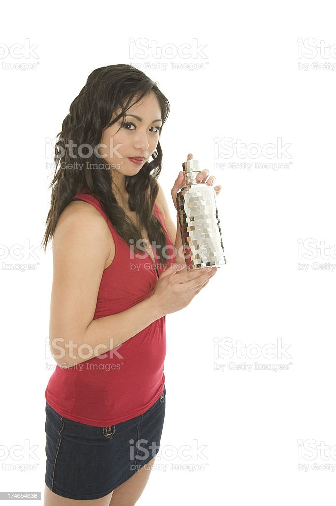 Woman with Cocktail Shaker royalty-free stock photo