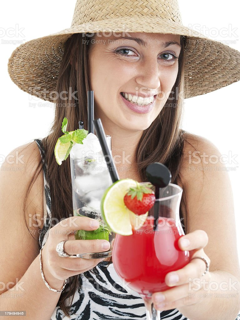 Woman with cocktails royalty-free stock photo