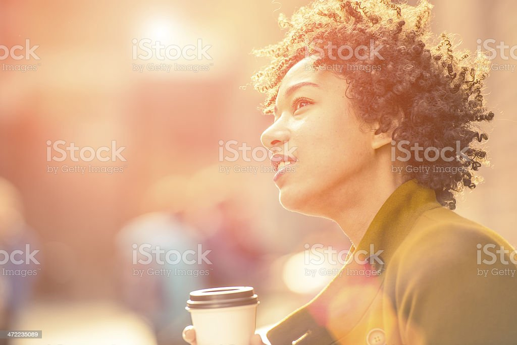 Woman with coffee stock photo