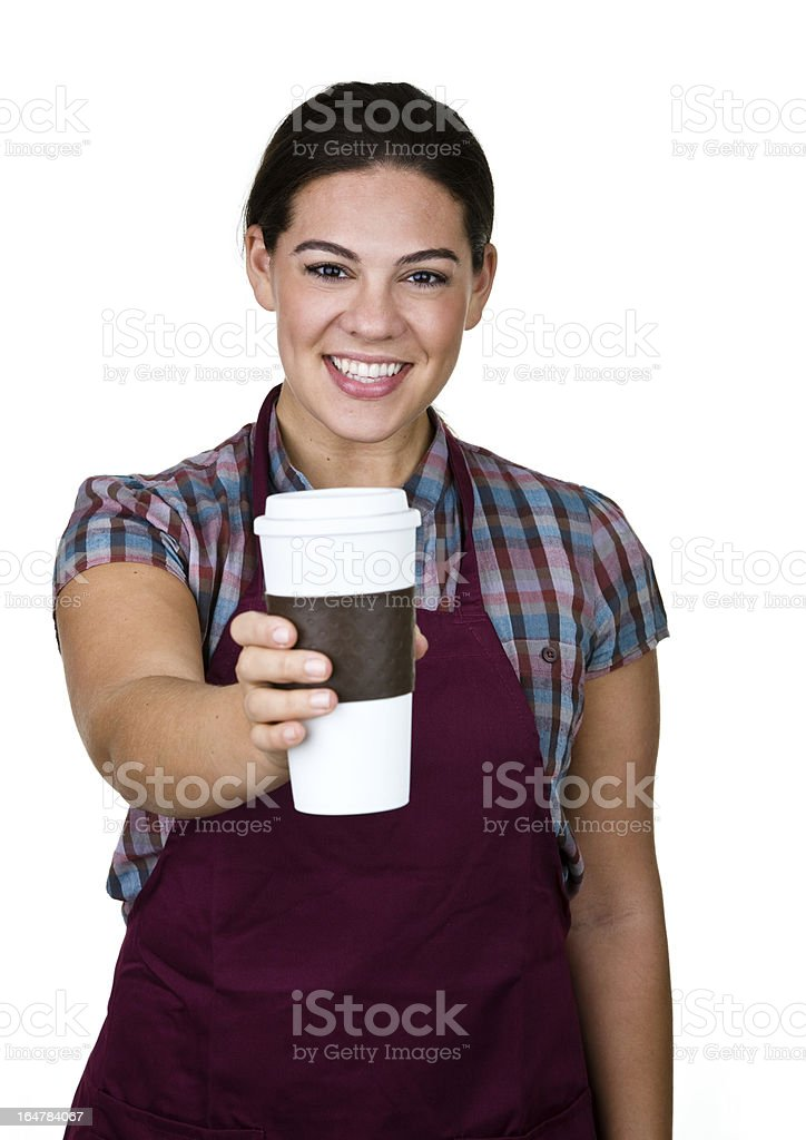 Woman with coffee to go royalty-free stock photo