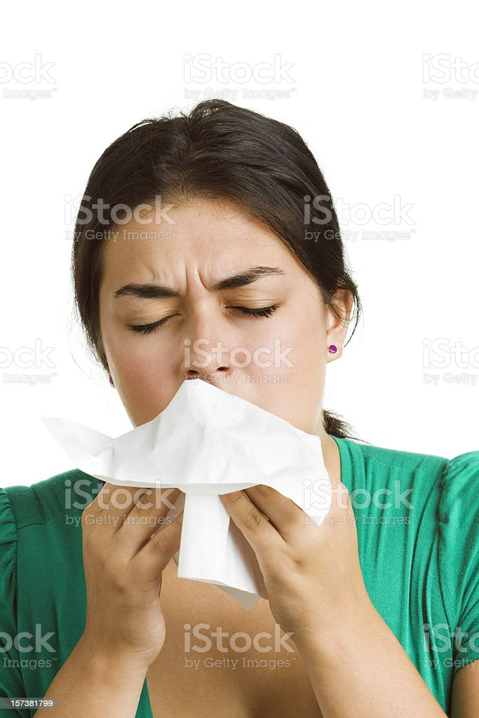 Woman with Cold, Flu or Allergy, Coughing, Sneezing, Using Tissue royalty-free stock photo