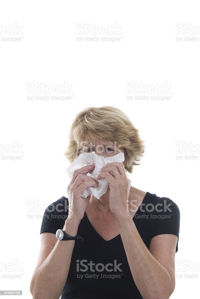 Woman with cold or allergy stock photo