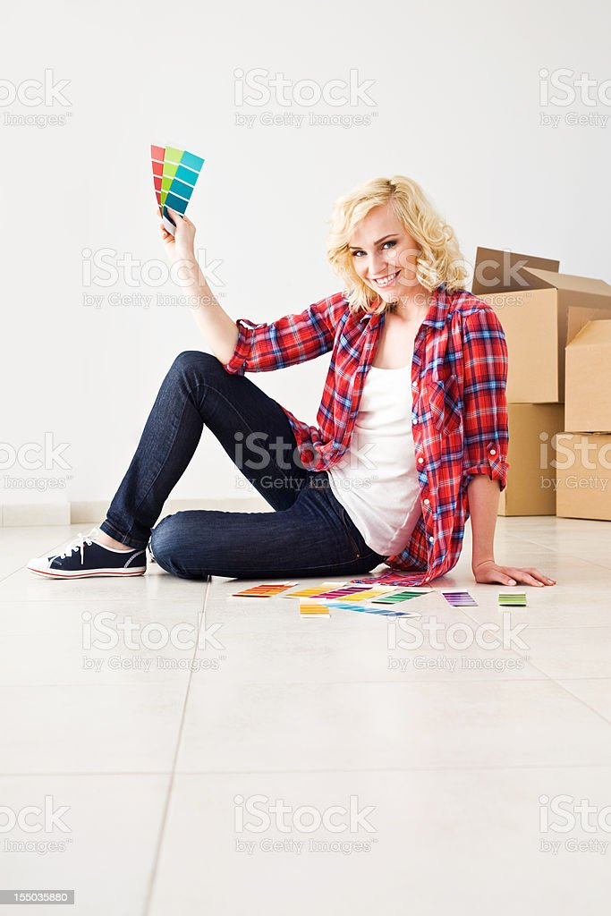 Woman with color swatches royalty-free stock photo