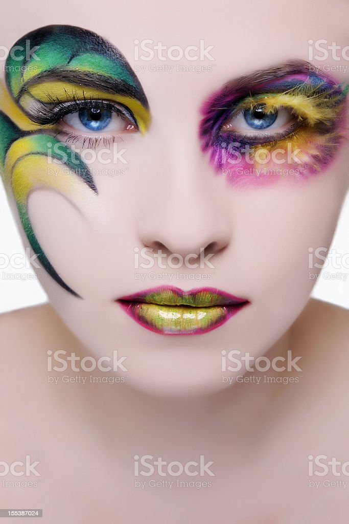 woman with colorful makeup royalty-free stock photo