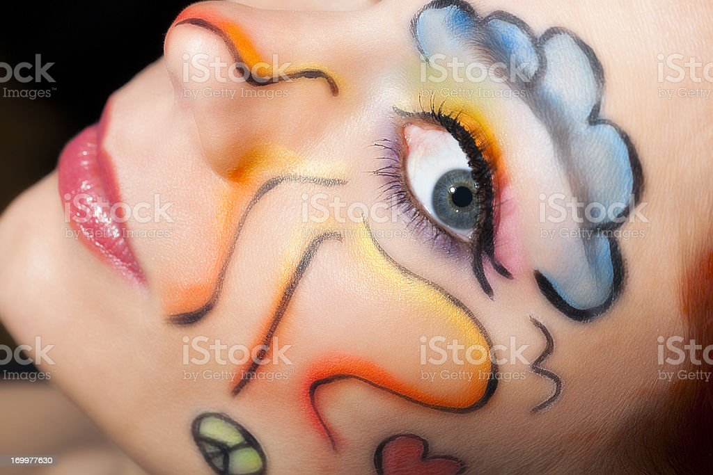 Woman with colorful make-up stock photo