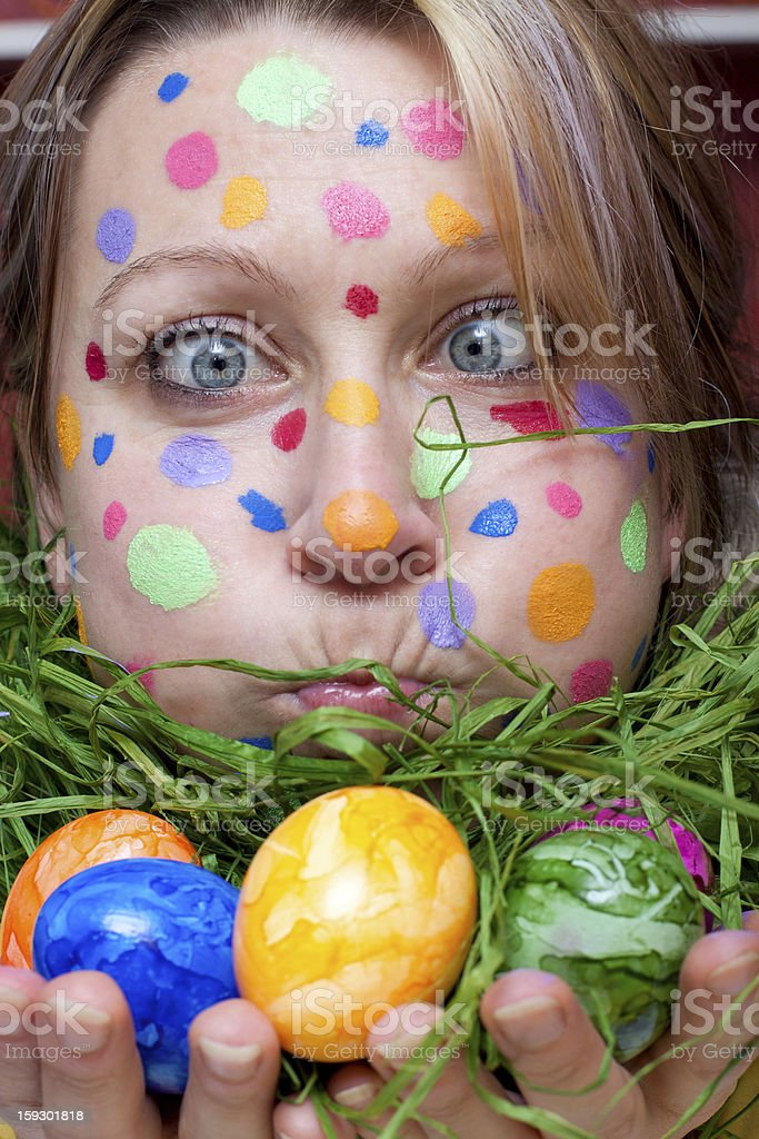 woman with colorful points in the face royalty-free stock photo