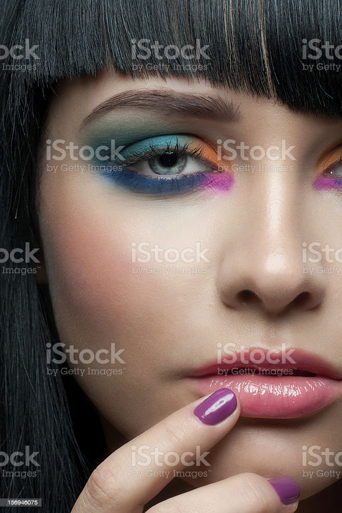 Woman with colorful stylish make-up royalty-free stock photo