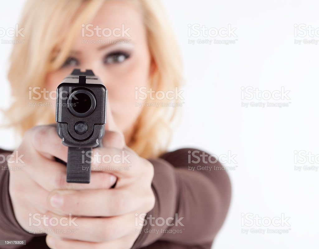 Woman with concealed permit stock photo