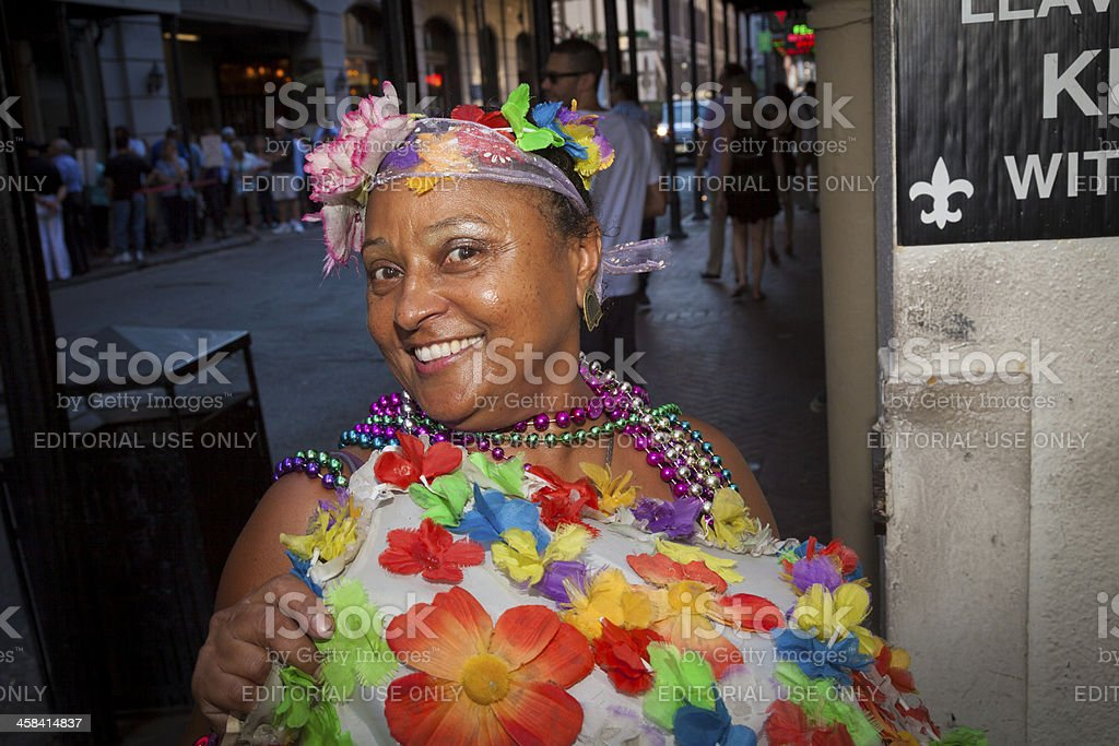 Woman with costume in the street royalty-free stock photo