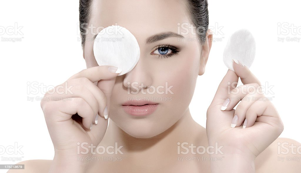woman with cotton pad royalty-free stock photo