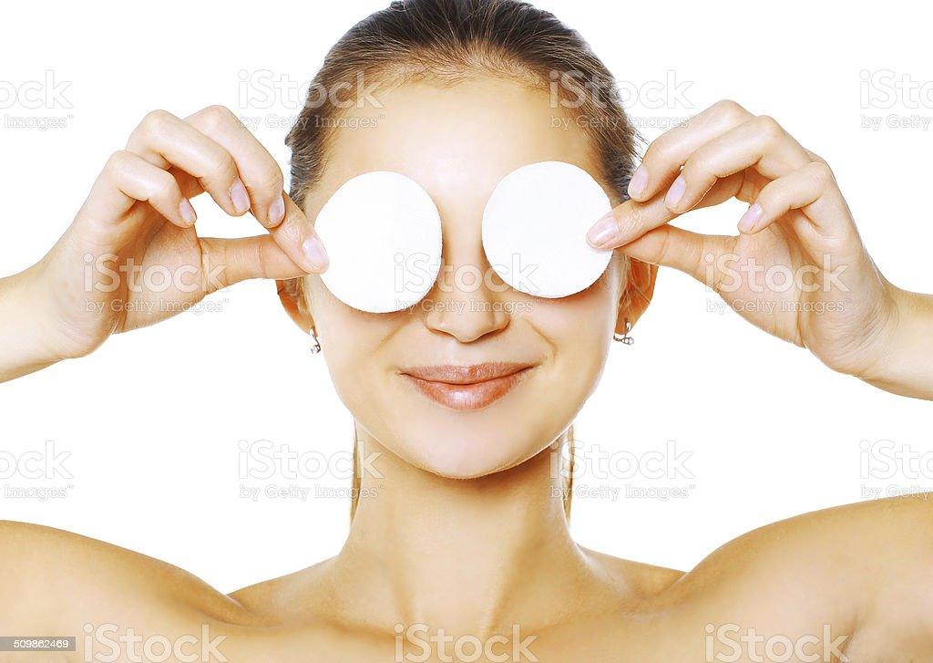 Woman with cotton pads stock photo