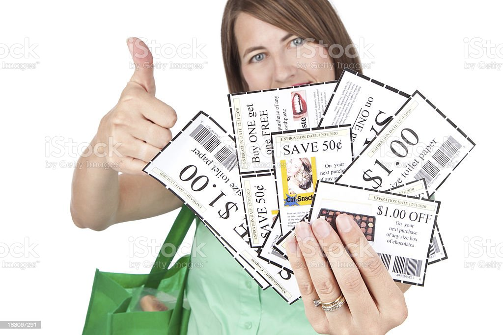 Woman With Coupons And Thumb Up royalty-free stock photo