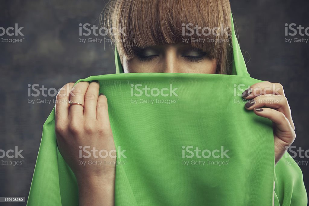 Woman with covered face royalty-free stock photo