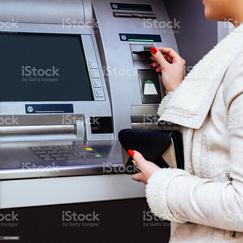 Woman with credit card. stock photo