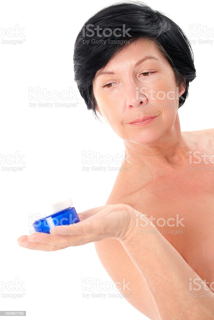 Woman with creme royalty-free stock photo