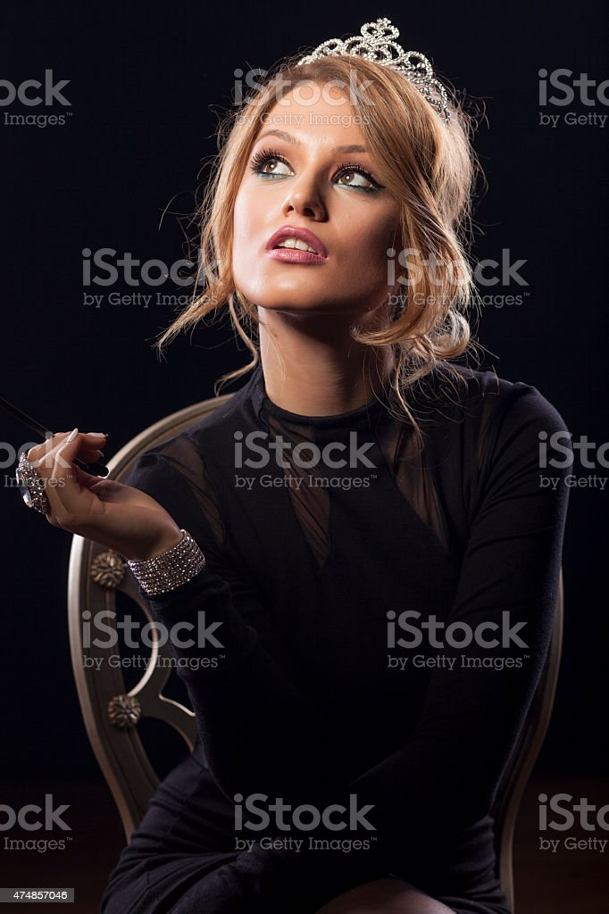 woman with crown stock photo