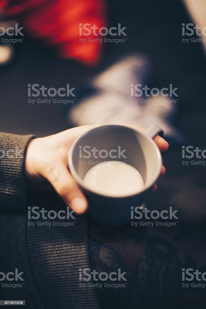 Woman with cup of milk stock photo