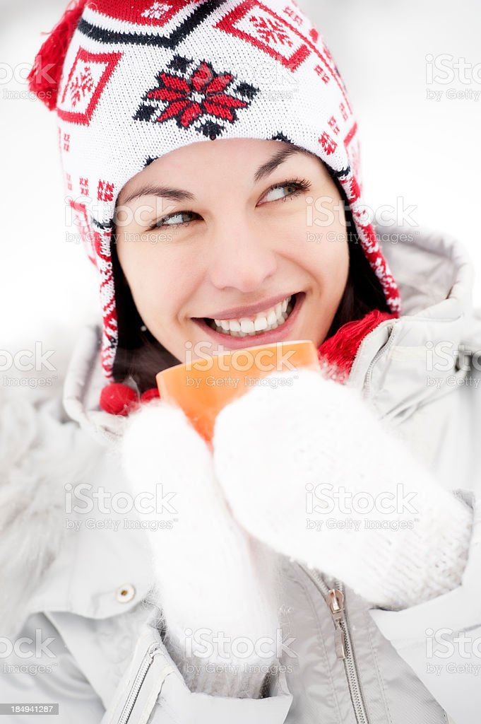 Woman with cup of tea royalty-free stock photo