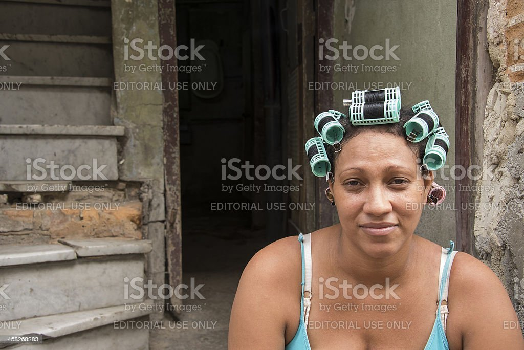 Woman with Curlers royalty-free stock photo