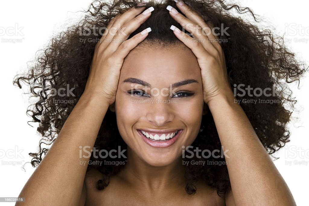 Woman with curly hair royalty-free stock photo