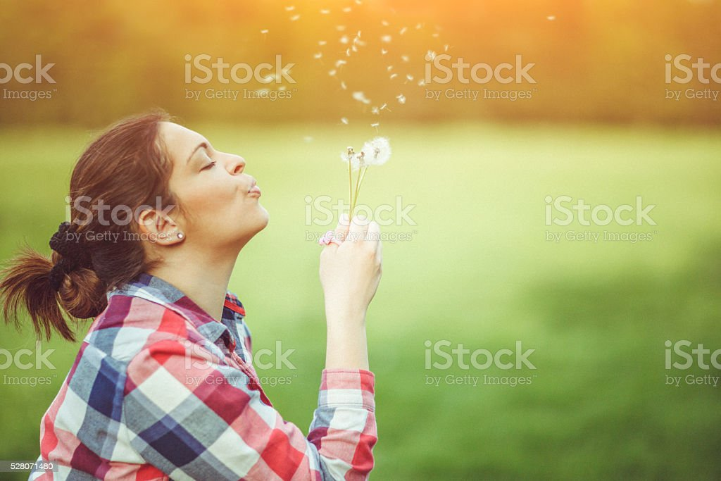 Woman with dandelion stock photo
