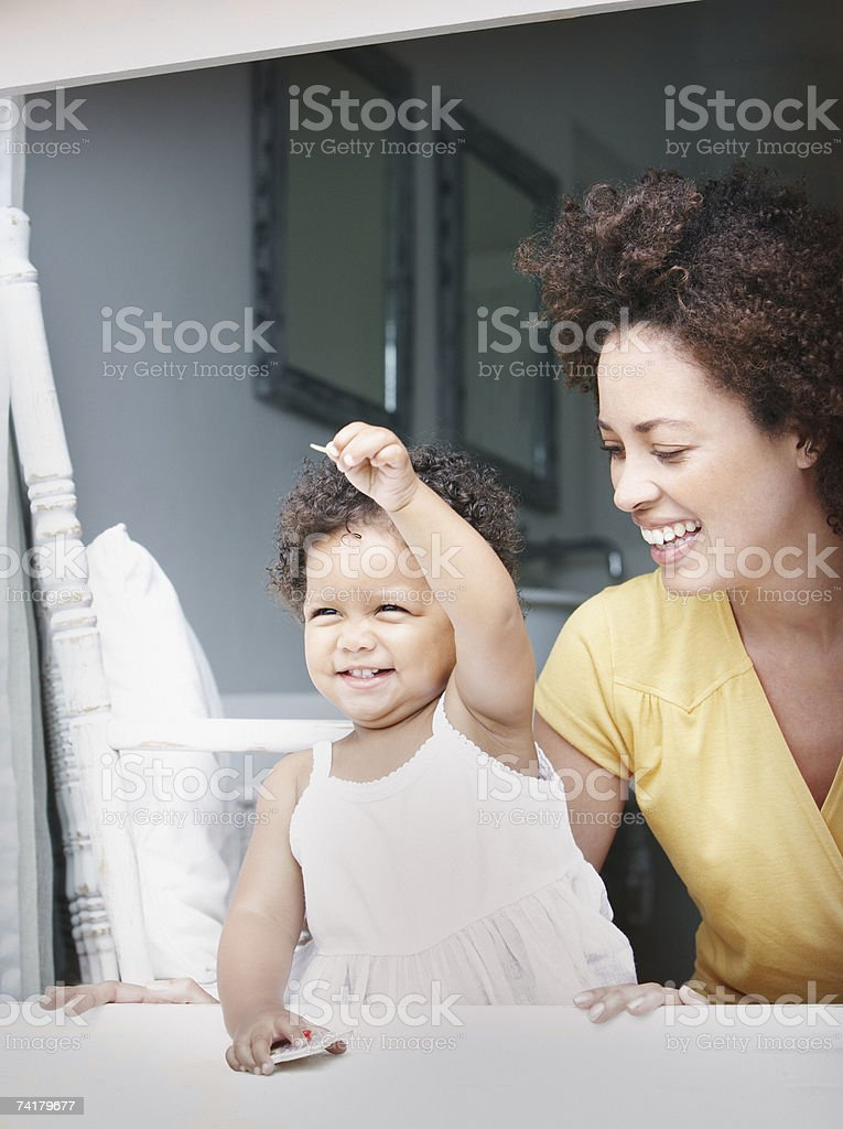Woman with daughter in summer royalty-free stock photo