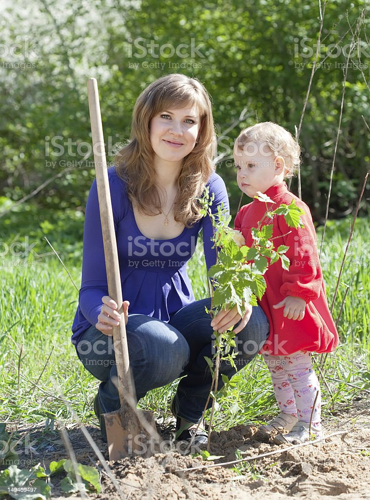 woman with   daughter sets bush stock photo
