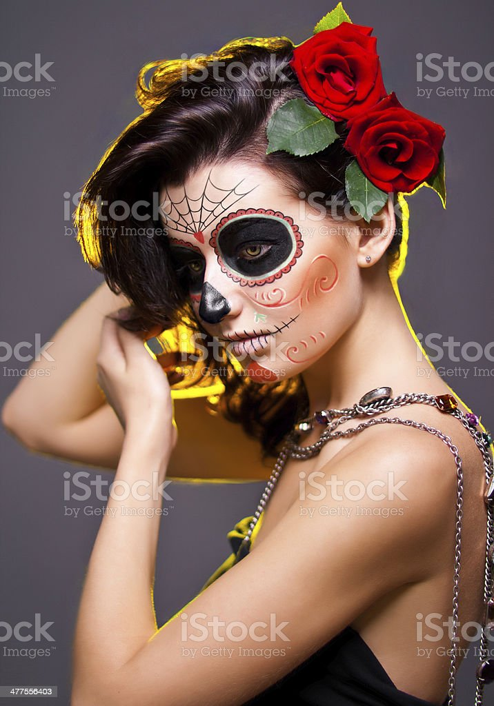 Woman with Dead face make-up stock photo