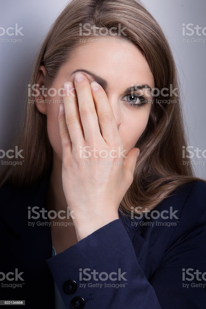 woman with depression stock photo