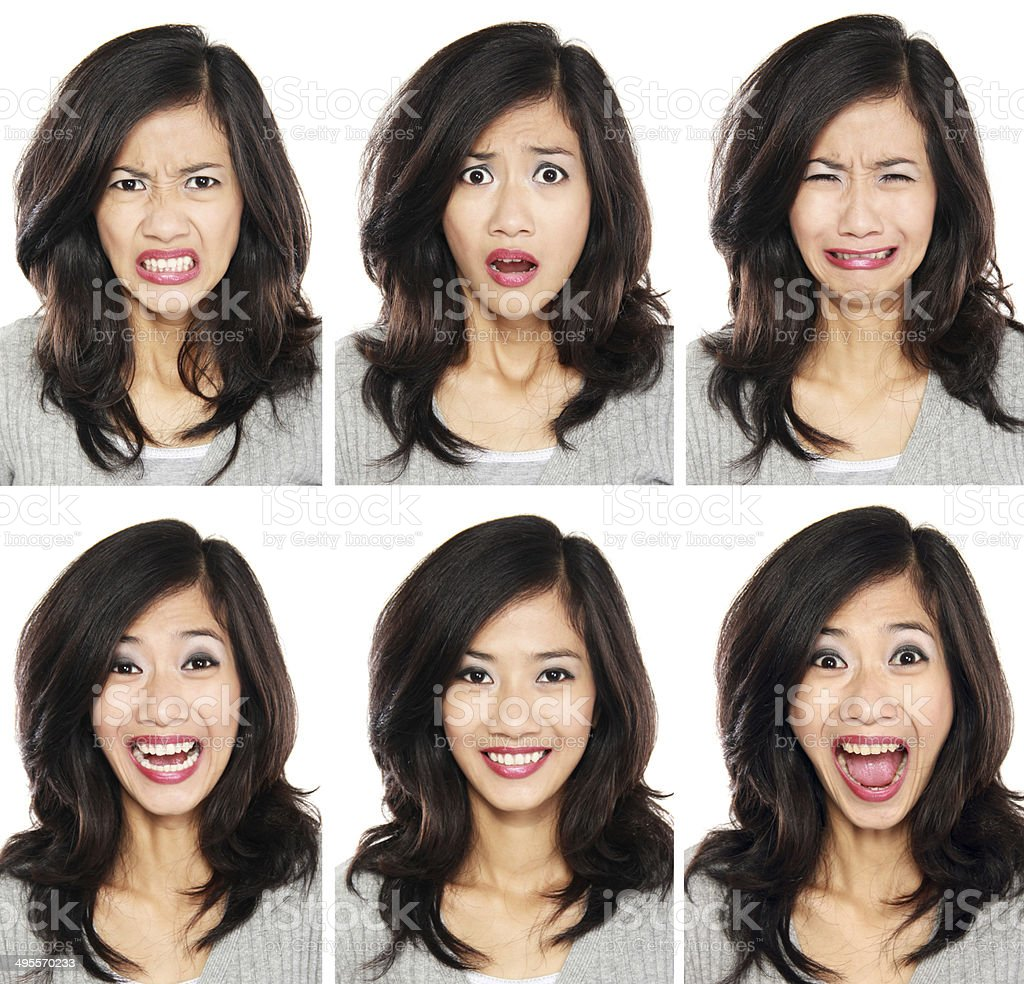 woman with different facial expression stock photo