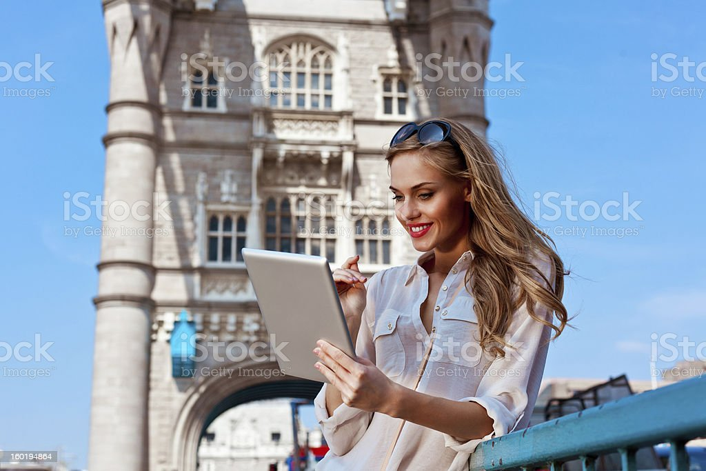 Woman with digital tablet royalty-free stock photo