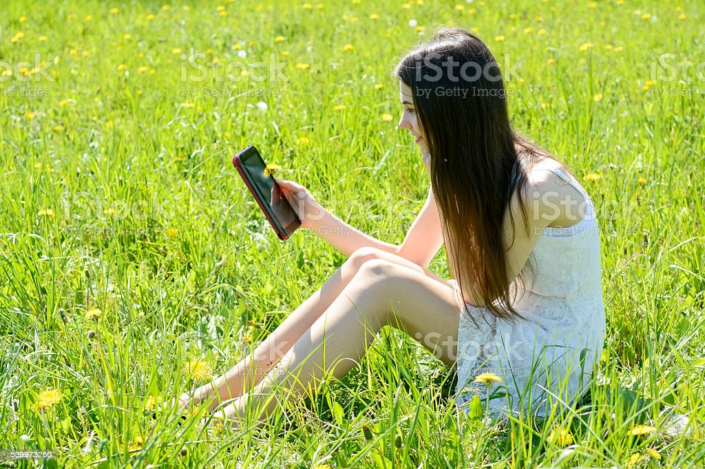 woman with digital tablet stock photo