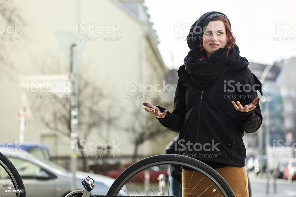 Woman With Dirty Hands after Repairing her Bicycle stock photo