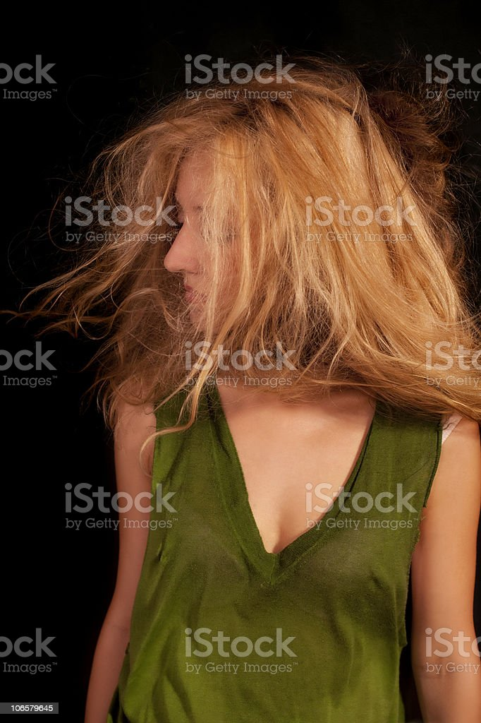 woman with disheveled curly hair royalty-free stock photo