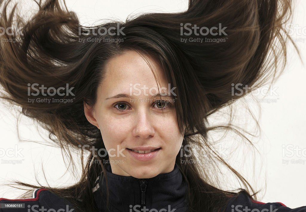 woman with disheveled hair royalty-free stock photo